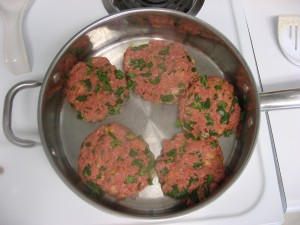 Form into patties and cook