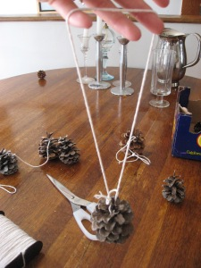 Tie String to Pine Cone