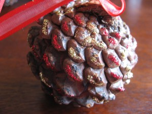 Pinecone Ornament Red & Gold